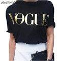 Летняя Мода Бренд Дизайнер Т Рубашки Женщины VOGUE Печатных Отдыха рубашка Женщины Топы Свободные Большой Размер Футболка Горячие Продажа Blusa