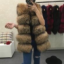 REROYFU Best Real Natural Fur Vest Women's Genuine Raccoon Fur Leather Jacket Overcoat Girl's Fur Vest Coat