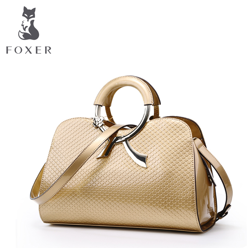 FOXER BRAND Classic Fashion  Leather Bolsa Box-Shaped Bag Vintage Embossing Bag Tote Bags Women Shoulder Bag Handbags aosbos fashion portable insulated canvas lunch bag thermal food picnic lunch bags for women kids men cooler lunch box bag tote
