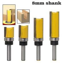 8mm Shank เทมเพลตบานพับ Router Bit Straight End Mill Trimmer ทำความสะอาด Flush Tenon เครื่องตัด
