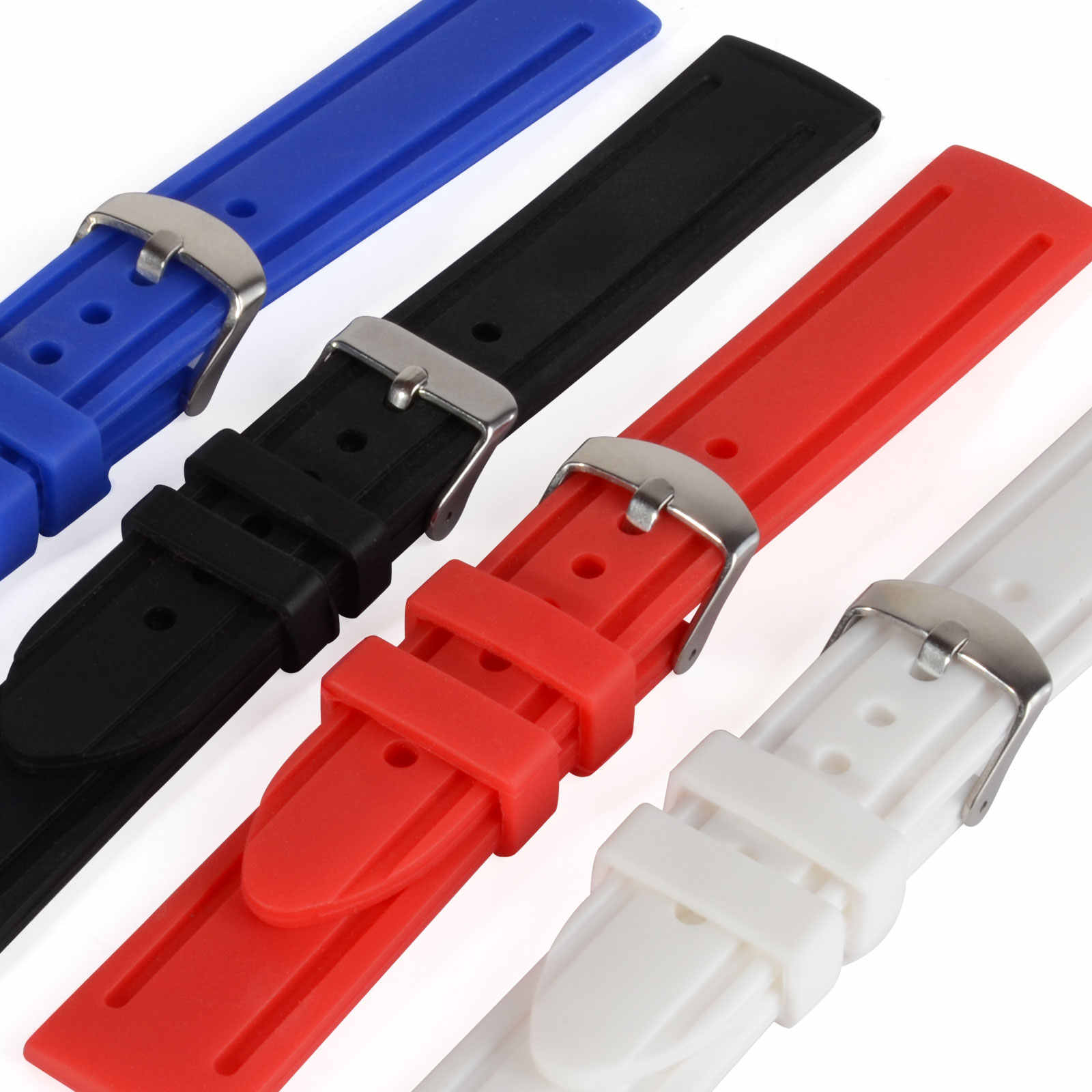 Shellhard 1pc Unisex Silicone Watch Accessories 4 Colors Wrist Watch Band Strap Sport Watch Mens Women 20mm 22mm 24mm