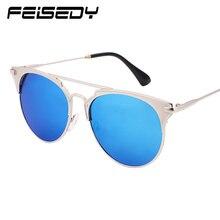 FEISEDY Fashion Luxury Cat Eye Sunglasses Women Brand Designer Vintage Flat Top Mirror Sun Glasses for Women ochki Oculos Gafas
