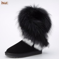 INOE real fox fur sheepskin leather sheep fur lined fashion suede winter snow boots for women winter shoes black brown tassels