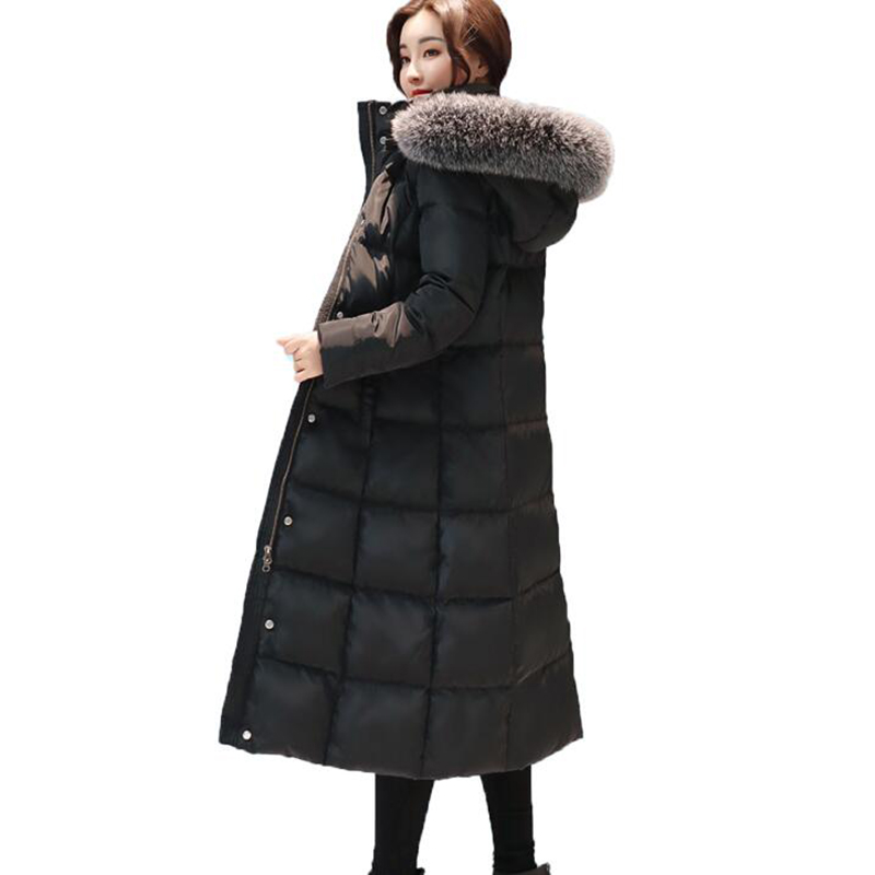2018 New Arrival Women Winter   Coat   Fur Collar White Duck   Down   Jackets Solid Hooded Long Outerwear Female Warm   Down     Coat