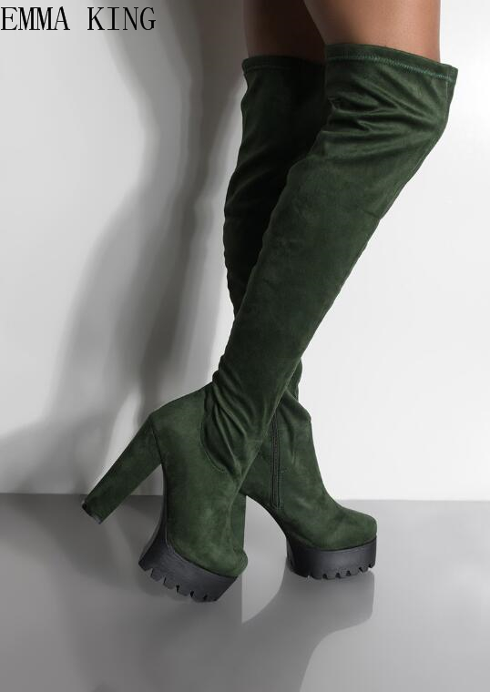 2018 New Women Boots Sexy Fashion Over the Knee Boots Sexy Round Toe Thin Square Heel Boots Platform Woman Shoes size 34-432018 New Women Boots Sexy Fashion Over the Knee Boots Sexy Round Toe Thin Square Heel Boots Platform Woman Shoes size 34-43