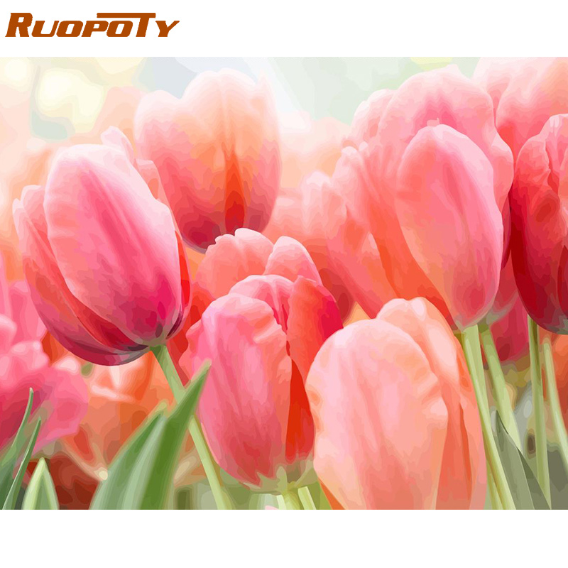 RUOPOTY Frame Tulip Flowers DIY Painting By Numbers Kit Modern Wall Art Picture Acrylic Paint By Numbers Canvas Painting For Art