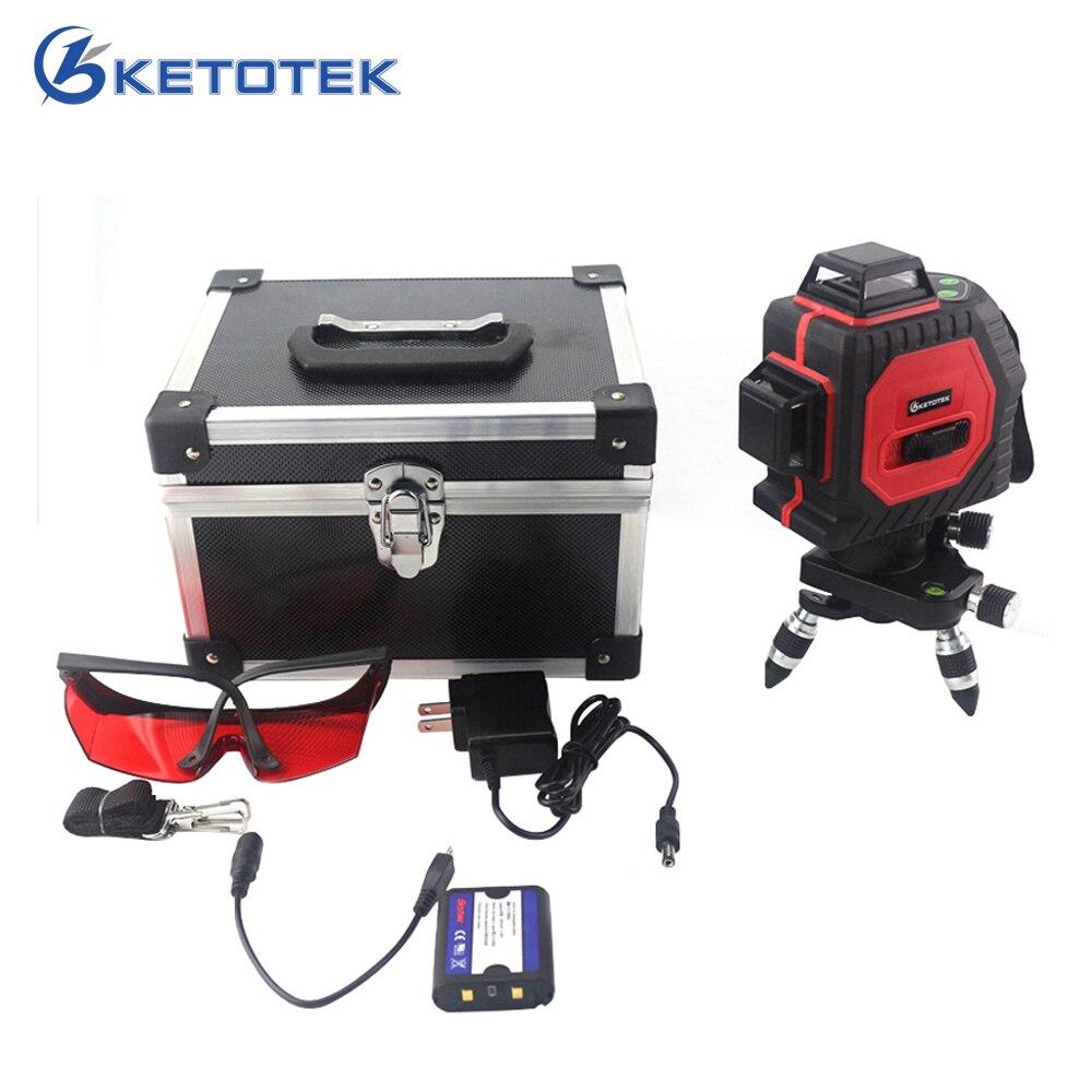 Ketotek 12 Linhas 3D Auto-Nivelamento Nível Laser 360 Linha Horizontal Vertical Cruz Super Poderoso Feixe de Laser Vermelho para ao Ar Livre Indoor