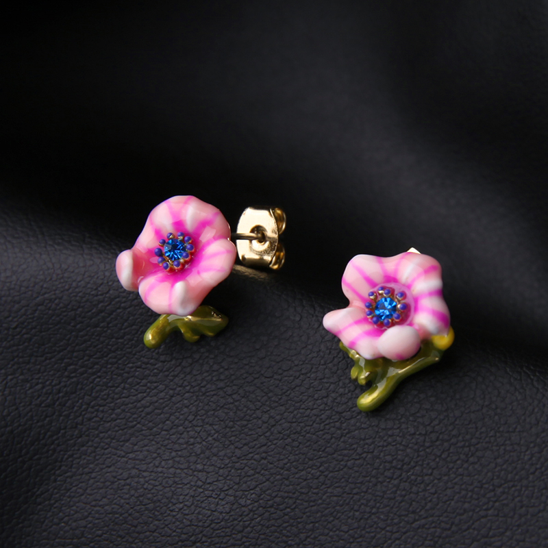 Aliexpress Cute Earrings For S New Design Copper Enamel Flowers Women Jewelry Online Ping India From Reliable