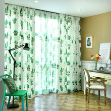 Blackout Curtain For Living Room Leaf Potted printing Bedroom Kitchen Balcony Pastoral Fresh Sheer for Window Decoration(China)