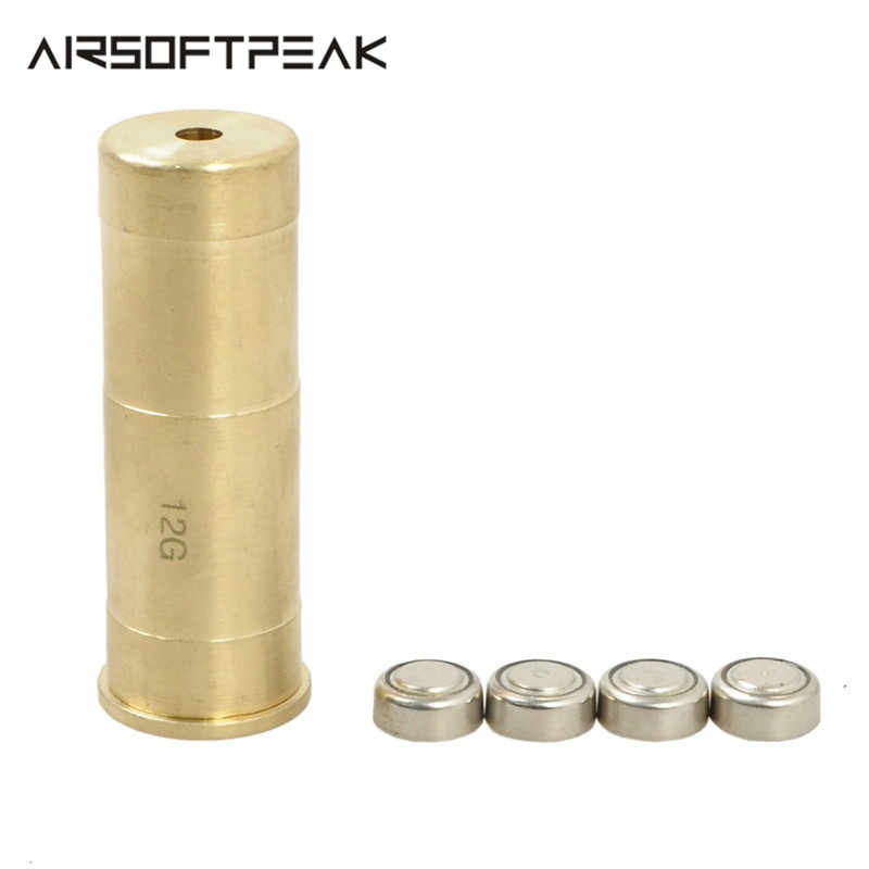 12 GA Cartridge Tactical Gun Laser Sight Red Dot Sighting Sighter Boresighter Red Copper Collimator for Hunting Gun Accessory