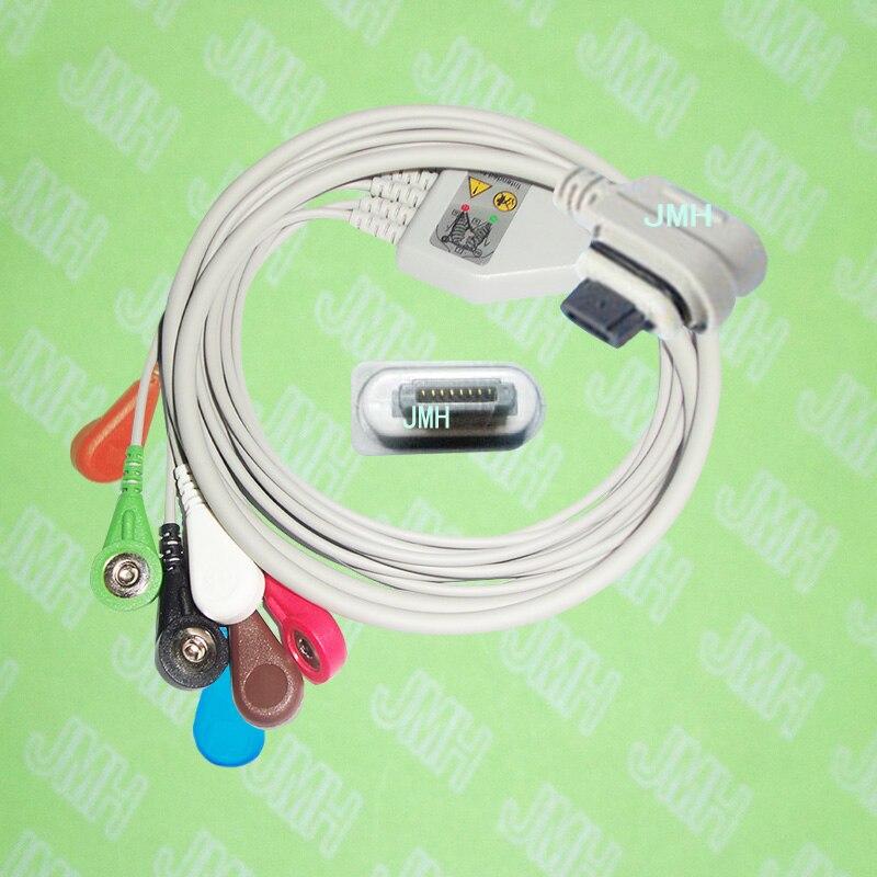 Compatible avec GE lumière voyant 2008594-004 holter patient le one-piece 7 dérivations ECG câble et leadwire, IEC ou AHA, Snap ou clip.
