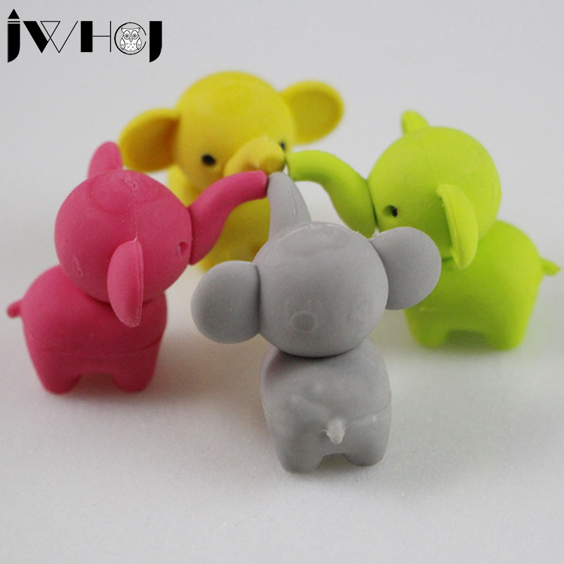 2 Pcs/lot  Cute Cartoon Elephant Modelling Eraser Kawaii Stationery School Office Supplies Correction Supplies Child's Toy Gift