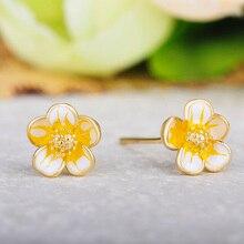 Funmor Delicate Flower 925 Sterling Silver Earring Enamel Ear Jewelry Women Girls Summer Yellow Ornament Brincos Jewelry Gifts цена