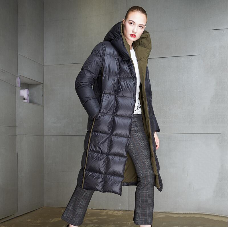 Vestes À Au Mode Coupe D'hiver Garder Capuchon 2018 Le Bas Noir Haute Section Femmes Qualité Épaissir bleu Chaud Nouvelles Mi Vers vent Longue De OwqP1tn