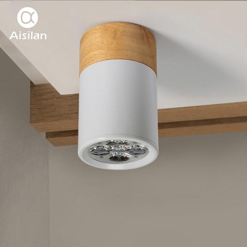 Aisilan En Bois LED Lampe Surface Monté Downlight Plafond lampe Éclairage À La Maison Salon Chambre Les Couloirs AC85V-265V 3 w/5 w