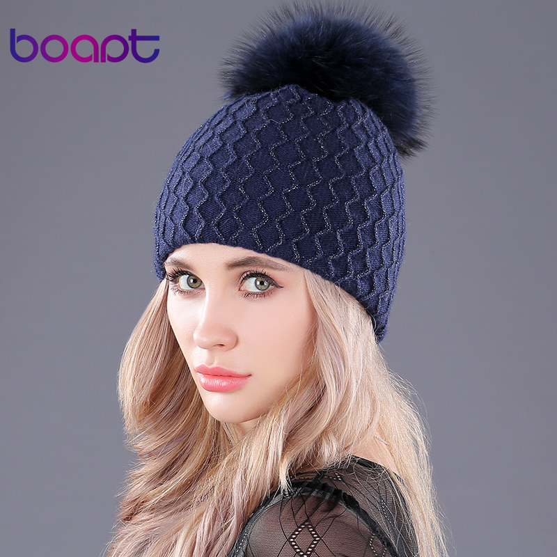 Hat Natural Real Raccoon Fur Fluffy Pompon CASHMERE Knitting Winter Double-Deck