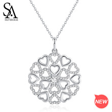 SA SILVERAGE Zirconia Silver Pendant Necklace Long Necklace Real 925 Sterling Silver Heart Pendant Sweater Chain Necklace Circle