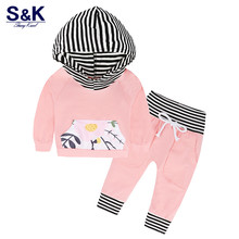 Autumn 2017 Fashion Baby Clothes Set with Hood T-shirts + Long Pants Toddler Baby Cloting Set 2 Pcs. Newborn Suit Xy-299(China)