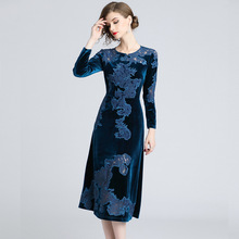 New Velvet Embroidery Womens Elegant A-Line Dress