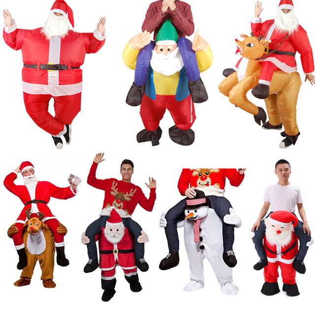 Santa Claus Cosplay Christmas Costumes Snowman Inflatable Clothes Ride On Me Carry Mascot Back Clothes Halloween Party Dress Up
