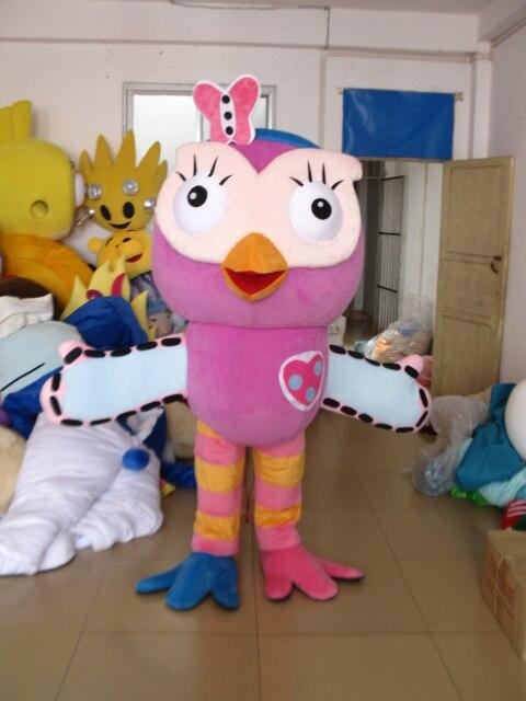 Offre spéciale Costume de mascotte hibou rose costume de mascotte de personnage de déguisement adulte