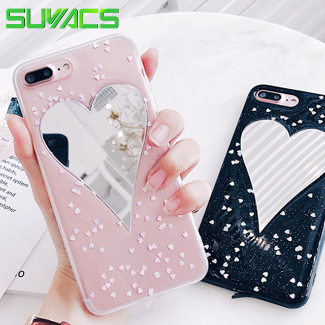 588bd611ee SUYACS For iPhone 6 6S Plus 7 7Plus Case Coque DIY Glitter Powder Heart  Mirror Soft TPU Mobile Phone Cases Cover Shells Fundas