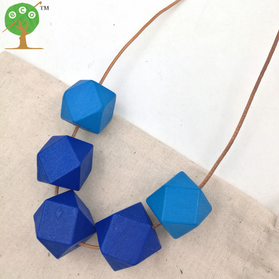 1PC SALE Chunky bead necklace Faceted Geometric Modern Tribal Chic Necklace BLUE NWR1730C