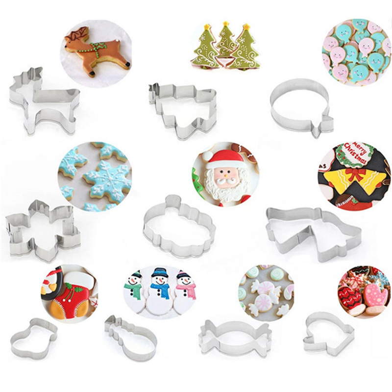 Snowflake Christmas Gingerbread Man Cookie Tools Cutter Mould Biscuit Press Icing Set Stamp Mold Stainless Steel Cake Decorating