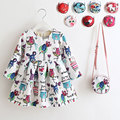 2017 New Retail Vestidos + Bolsa 2 unids/set Cute Baby Kids Girls Primavera Otoño de Manga Larga Perfume de Flor de la Princesa China Azul 2-8years