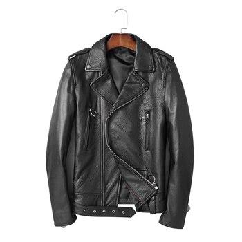 High Quality Leather Jacket Men мужские кожанные куртки с косой молнией