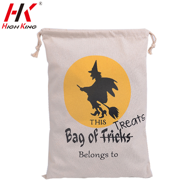 10pcs/lot halloween party bag factory Wholesale 2016 New 6 style halloween Canvas Drawstring Candy Shipping Bags free shipping