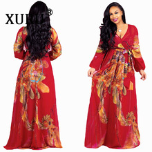 XURU 2019 Women Chiffon Printed Dress Full Sleeve V-Neck Belted Loose Dresses Casual Beach Long Soft Maxi Robe S-5XL