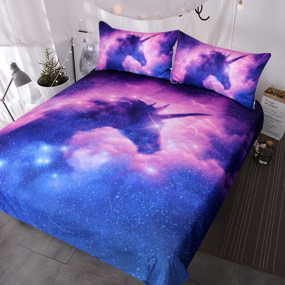 BlessLiving Galaxy Unicorn Bedding Set Kids Girls Psychedelic Space Duvet Cover 3 Piece Pink Purple Sparkly