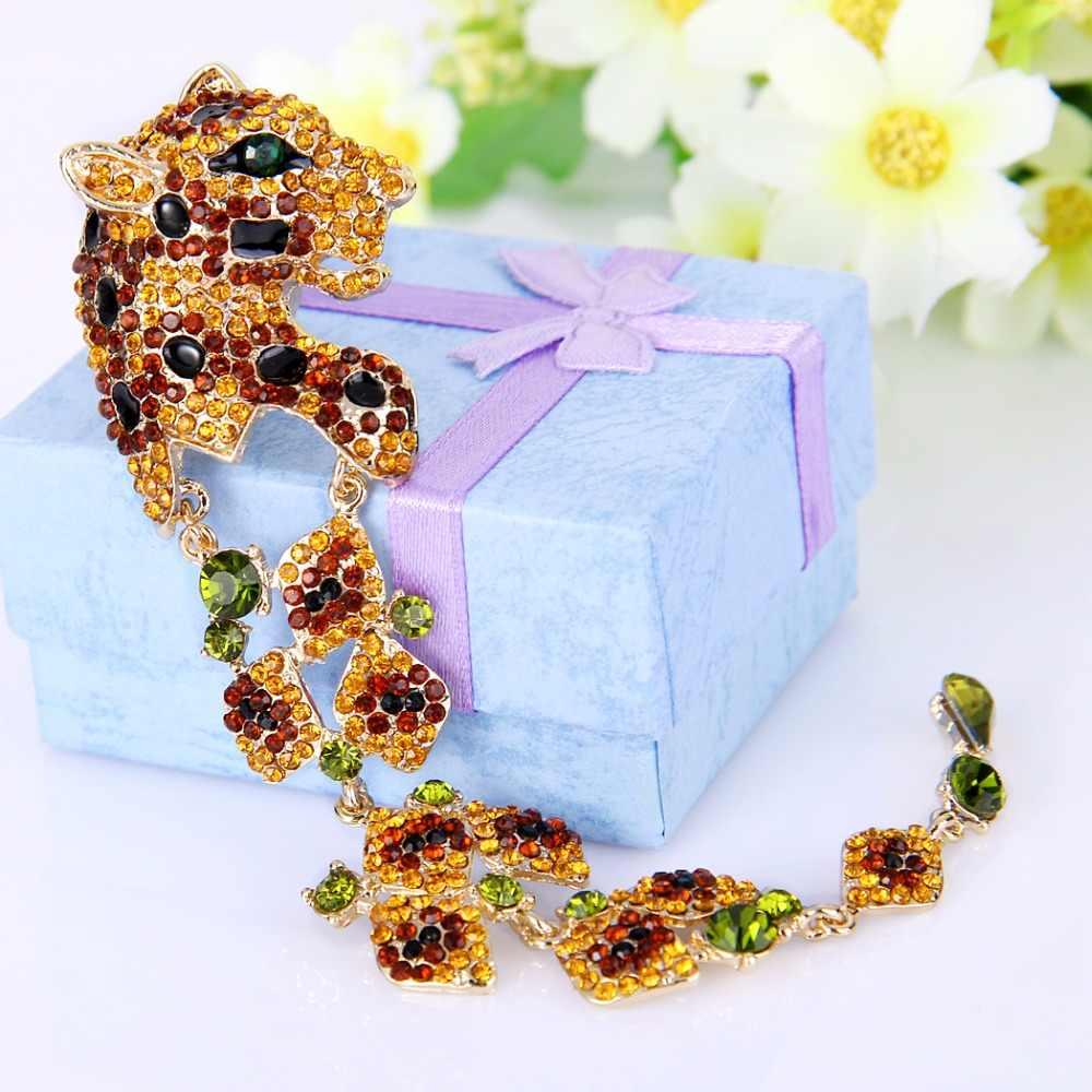 Tuliper marrom esmalte leopardo pingente broche pinos cristal austríaco strass animal broches para feminino festa jóias presente