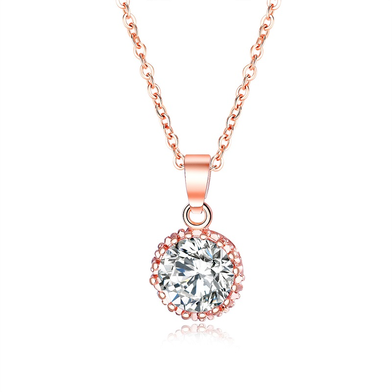 Sonderabschnitt 2019 Schmuck Cubic Zirkon Rose Gold Farbe Halsketten Für Frauen Nette Damen Silber Farbe Schlüsselbein Halsketten Anhänger Weiblichen