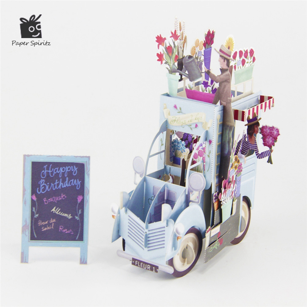 Get This 3d Pop Up Flower Car Greeting Card Colorful Birthday Card