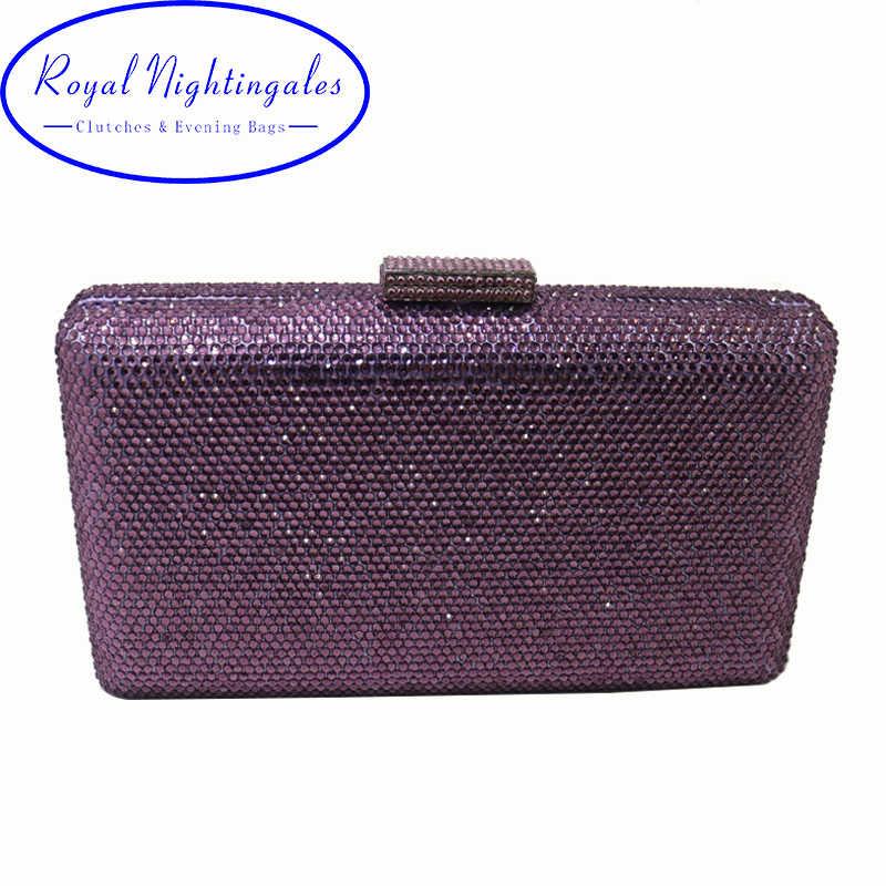 Королевский соловьи фиолетовый Жесткий Box Дело кристалл клатчи и вечерние сумки для женщин туфли и платье