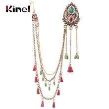 Kinel Indian Jewelry 1Pcs Earring link Headdress For Women Antique Gold Mosaic Crystal Bohe Tassel Earrings Party Retro