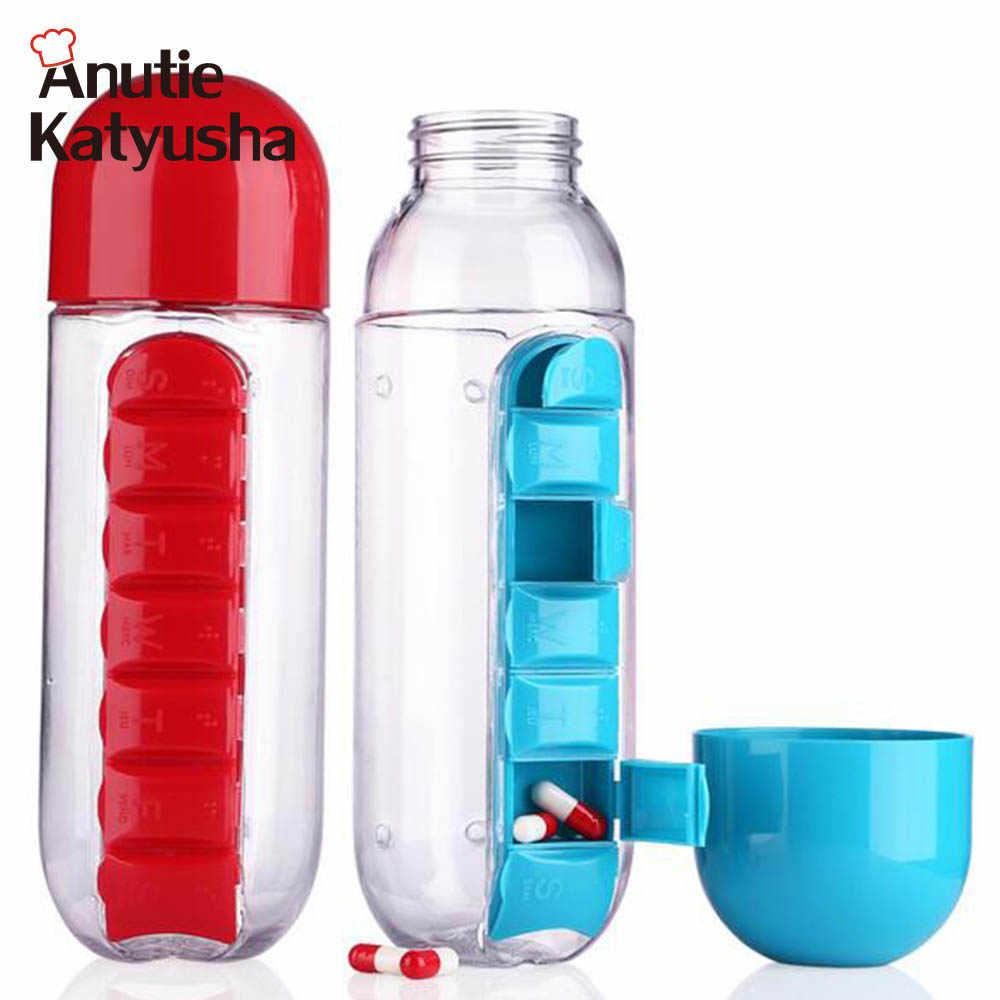 Bottle Drinkware Water Sport 1pc Hiking 600ml Plastic With Pill Box Organizer