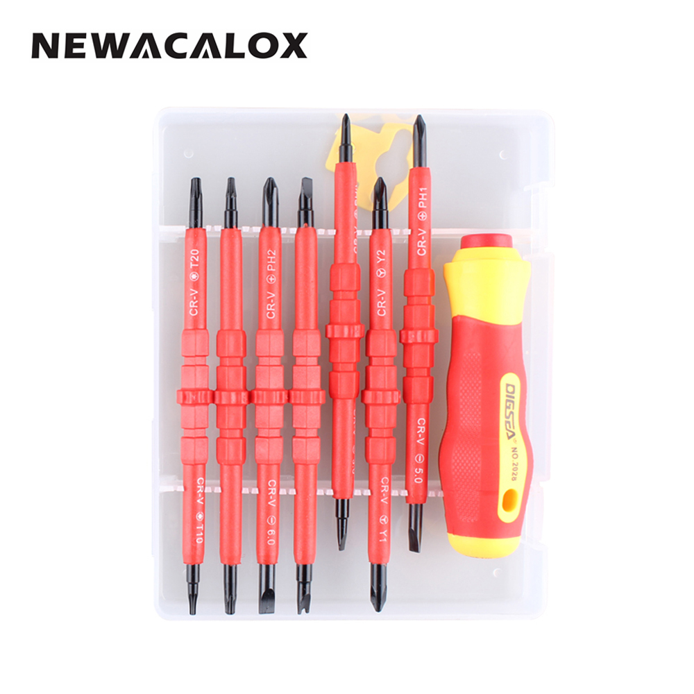 NEWACALOX 15 In 1 Magnetic Precision Screwdriver Set DIY Hand Tool Kit Torx Cross Flat Y U-Shape Slotted Screw Driver for Laptop precision torx screwdriver set 53 in1 tweezer flexible drill shaft disassembly screwdriver repair open tool kit for cell phone
