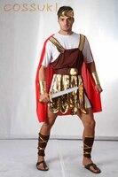 משלוח חינם! warrior רומא העתיקה cosplay תלבושות גברים מבוגרים ליל כל הקדושים אדום מגניב לביצועי במה או מסיבת תחפושות