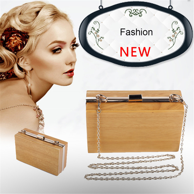 DUDINI  Fashion Women Wooden Bag Box Bags Female Wood Clutch Bag Ladies Handbag Small Day Clutch Personality Evening Bag