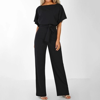 Women Cotton Bandage Jumpsuit Summer Fashion 2019 Short Sleeve Playsuits Clubwear Straight Leg With Belt Overalls Bodycon Ladies 5