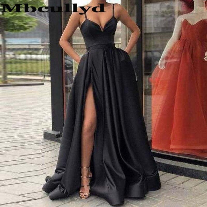 Mbcully robes de bal 2019 bretelles Spaghetti noir robe d'occasion spéciale robes de soirée formelles de Gala avec poche et fente sous 100