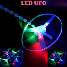1pc Funny Colorful Pull String Ufo Led Light Up Flying Saucer Disc Kids Toy Toys Birthday Gift Random 20