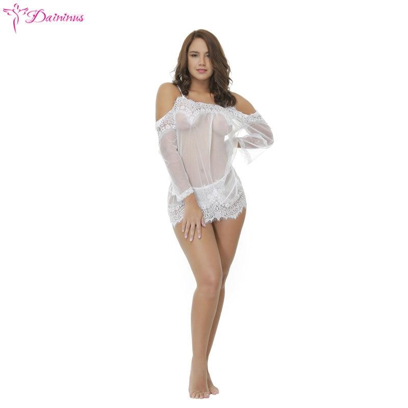 Daininus Sex Underwear Lingerie Sexy Hot Erotic Babydoll Dress Transparent Sleepwear Women Lace Nightwear Nightgown Porn Clothes