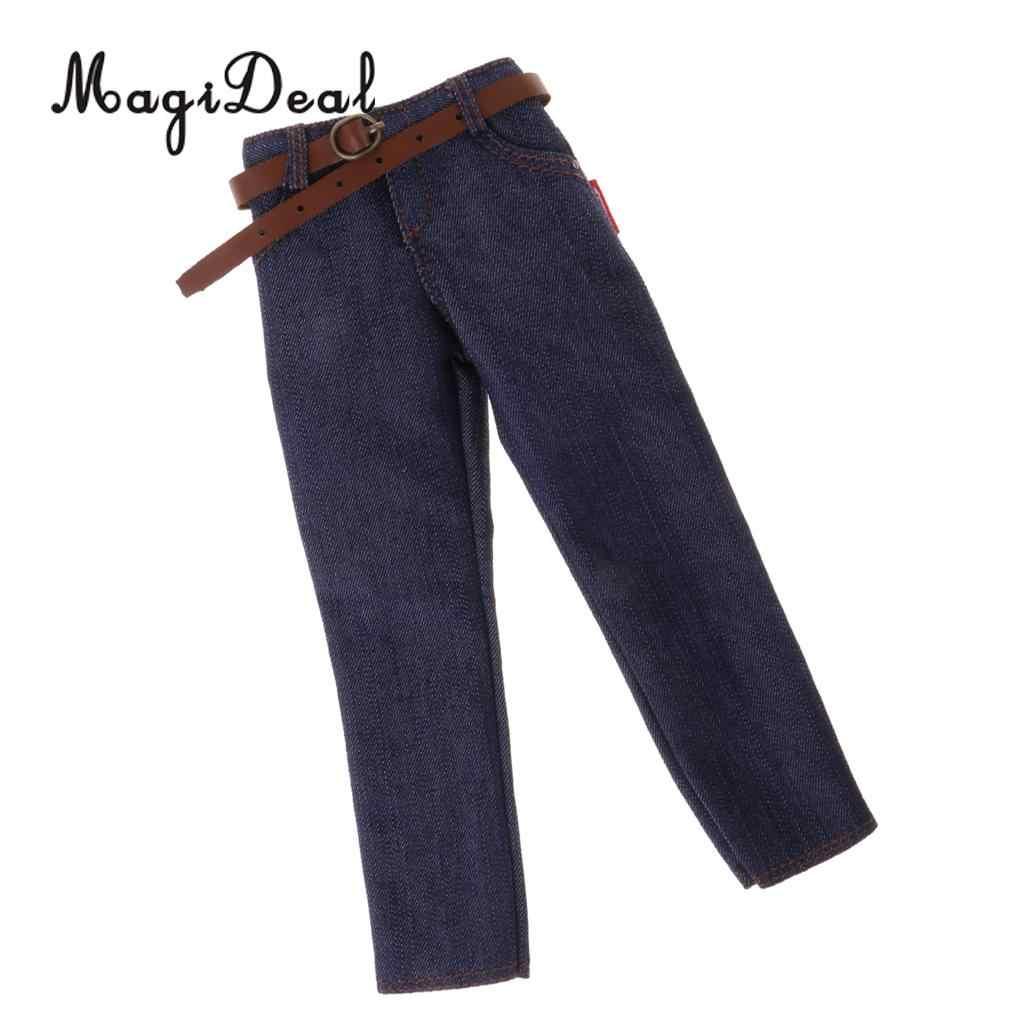 Magideal Top Kwaliteit 1Pc 1/6 Schaal Mannelijke Klassieke Denim Jeans Broek Met Riem 12 Inch Action Figure Body hot Speelgoed Accessoire