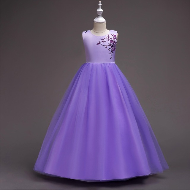 149857ebe8 Cielarko Teen Girls Formal Dress Wedding Party Long Dresses Children  Birthday Flower Dress Fancy Kids Show