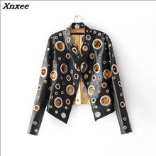 Spring Autumn Metal wind Hole gold Short Motorcycle jacket and coat 2018 Women Ladies short leather Xnxee