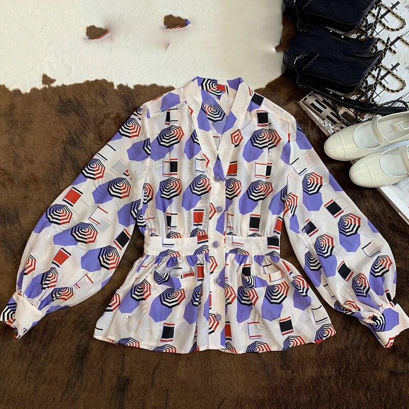 Summer Lady Silk Blouse Women Long Sleeve Casual Flower Shirts 2019 new Top Quality Peter pan Collar Shirts